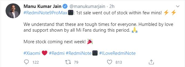 Redmi Note 9 Pro Max 1st sale went out of stock within few mins!