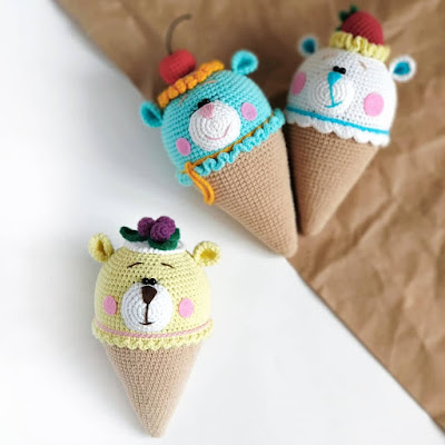 Вязаное мороженое мишка