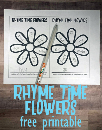 FREE Flower Rhyming Words Worksheets - these rhyming flowers printable are such a fun way for kindergarten and first grade kids to practice rhyming with a fun spring or summer theme. #rhyming #worksheets #homeschooling #kindergarten #firstgrade