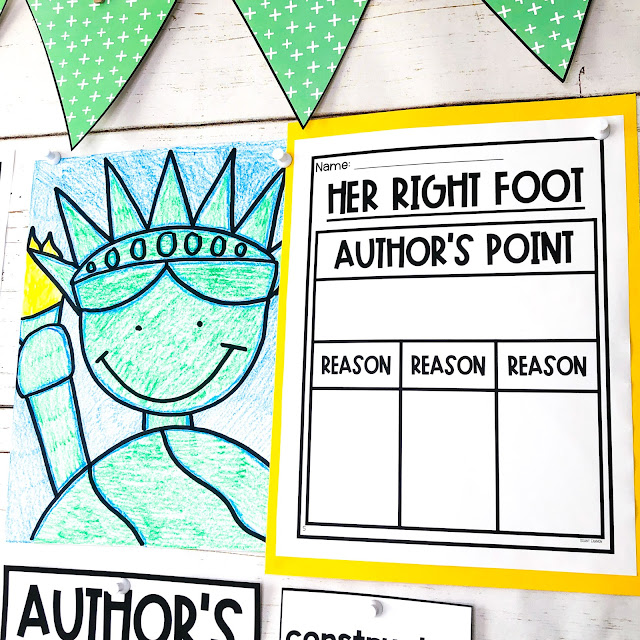 How to teach author's point and reasons, including author's point and reasons anchor chart and author's point and reasons graphic organizers.