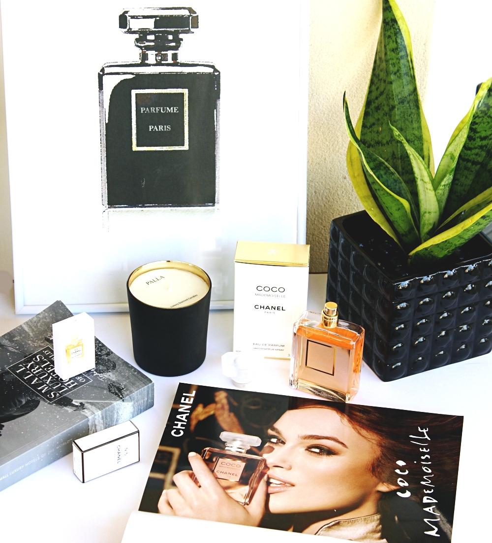 Chanel Coco Mademoiselle perfume, best 2019 perfumes, favorite perfumes, perfume flatlays