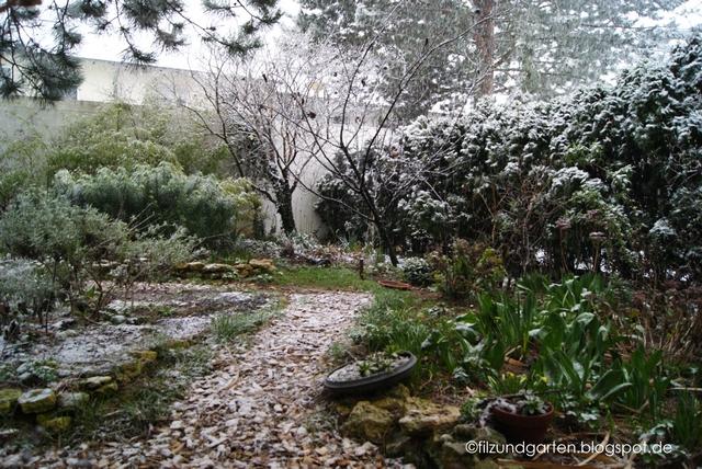 Schneefall im Garten im Februar