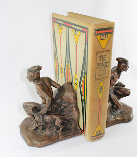 Bookends -Jennings Brothers Originals C Veith Mark --Bronze Clad Indian Hunter and Dog with book turned front.jpg