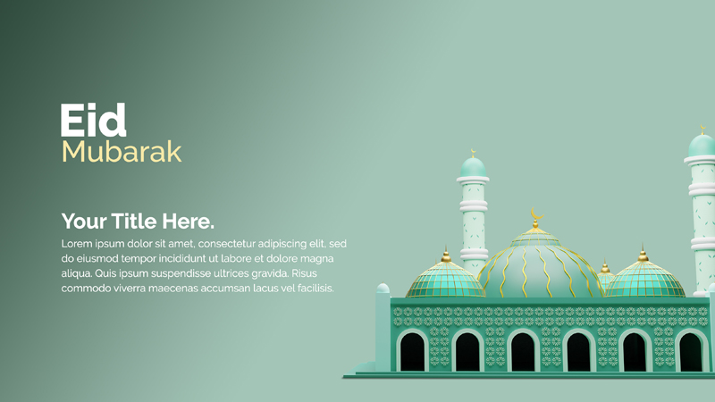 Islamic Decoration Design With 3D Rendering Mosque