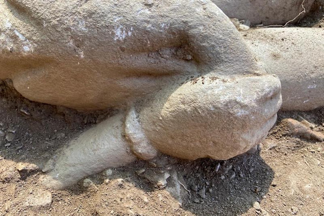 Two Kouros statues found at the Temple of Zeus Lepsinos at Euromos in SW Turkey