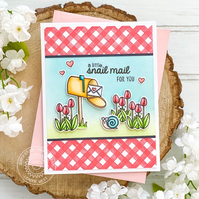 Sunny Studio Stamps: Snail Mail Background Basics Easter Wishes Slimline Dies Friendship Cards by Leanne West