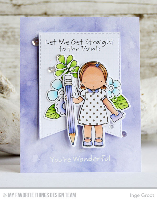 Straight to the Point Card by Inge Groot featuring the Build-able Bouquet and Pure Innocence Straight to the Point stamp sets and Die-namics and the Stitched Jumbo Fishtail Banner STAX Die-namics #mftstamps