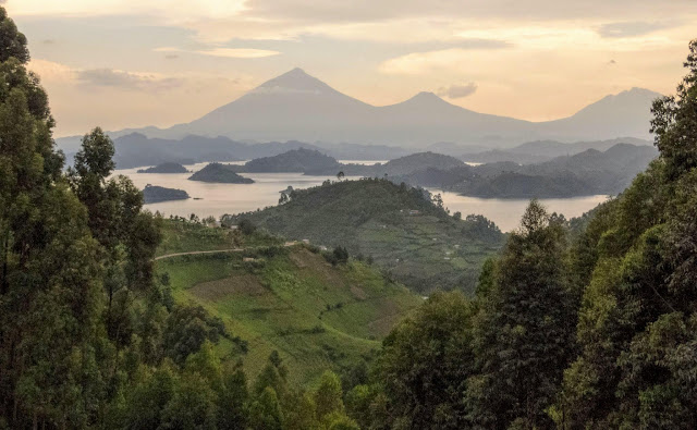 View of Lake Mutanda and the Virungas in Uganda
