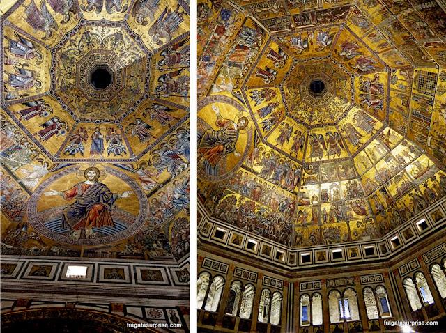 """Mosaico """"O Juízo Final"""" no Batistério de San Giovanni, Florença, Itália"""