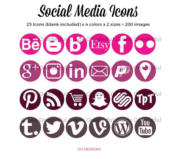 Social Media Icons 25 icons x 4 colors x 2 sizes