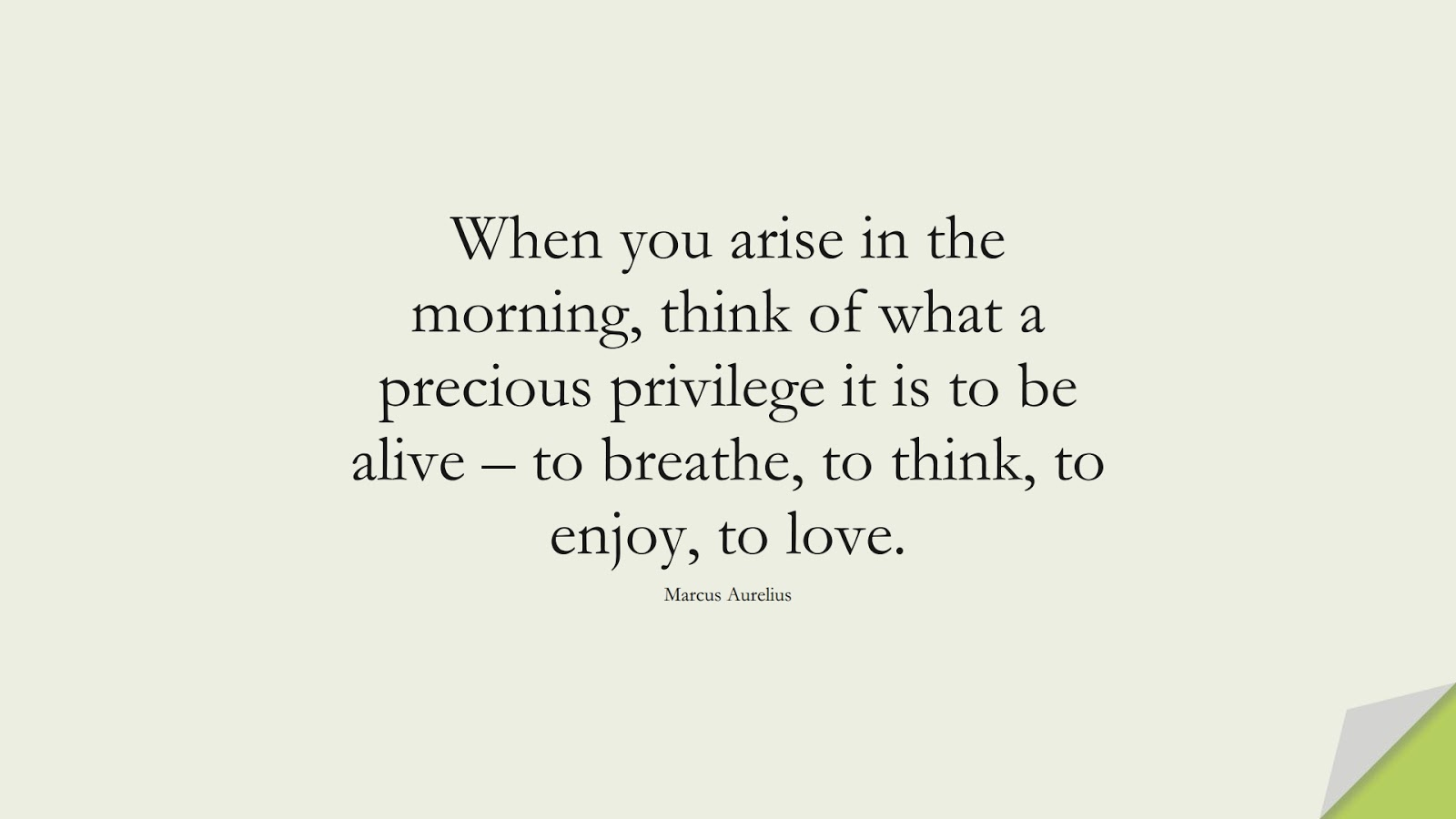 When you arise in the morning, think of what a precious privilege it is to be alive – to breathe, to think, to enjoy, to love. (Marcus Aurelius);  #MarcusAureliusQuotes