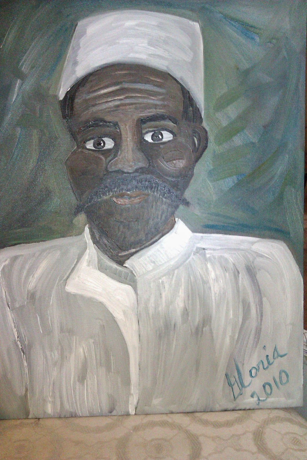 """Nigerien in bubu"" ethnic oil painting by Gloria Poole of Missouri and Georgia"