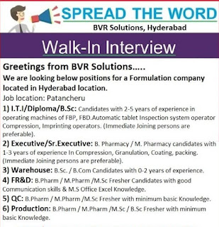 Formulation Company Recruitment ITI, Diploma, B.Sc, M.Sc, B.Pharm, M.Pharm Candidates In Hyderabad Location