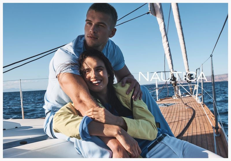 Models Blanca Padilla and Mitchell Slaggert are all smiles in Nautica spring-summer 2020 campaign