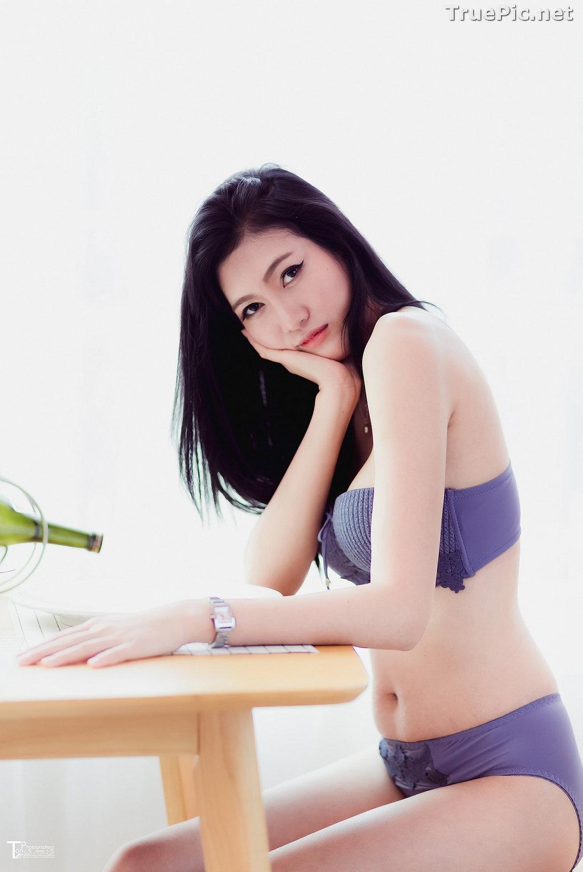 Image Thailand Model - Sawinee Boonbunlu - Sexy Blue Purple Lingerie - TruePic.net - Picture-3