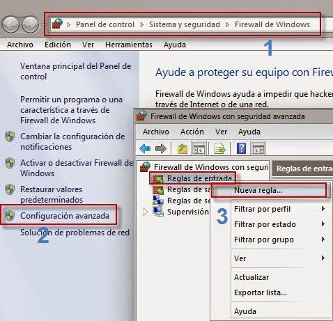 Creamos una nueva regla en la configuración avanza del Firewall de Windows 7