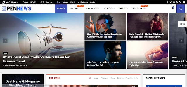 Features of PenNews WordPress theme