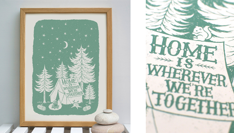creative interview with alexandra snowdon - home is wherever we're together nature camping print