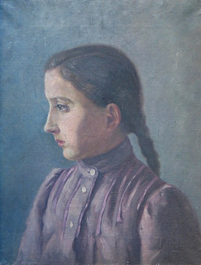 Альфонс Муха - Портрет Анжелы, сестры Мухи. 1880