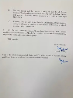 Circular on work from home of Government of India for Teaching and Non-Teaching staff
