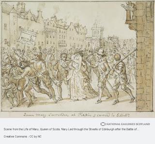 María siendo paseada por las calles de Edimburgo por David Allan