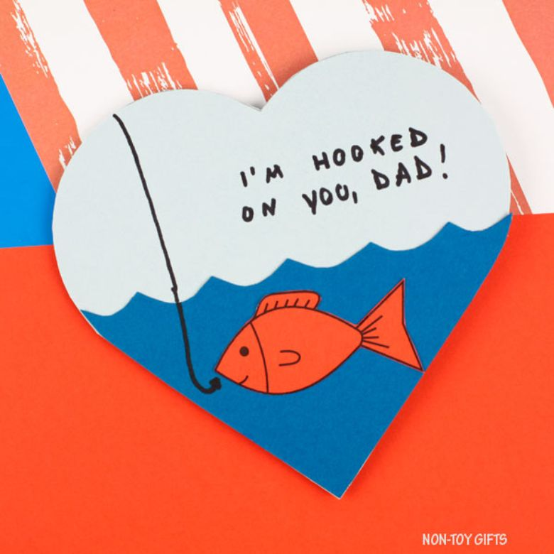 Hooked on Dad Father's Day card for kids to make