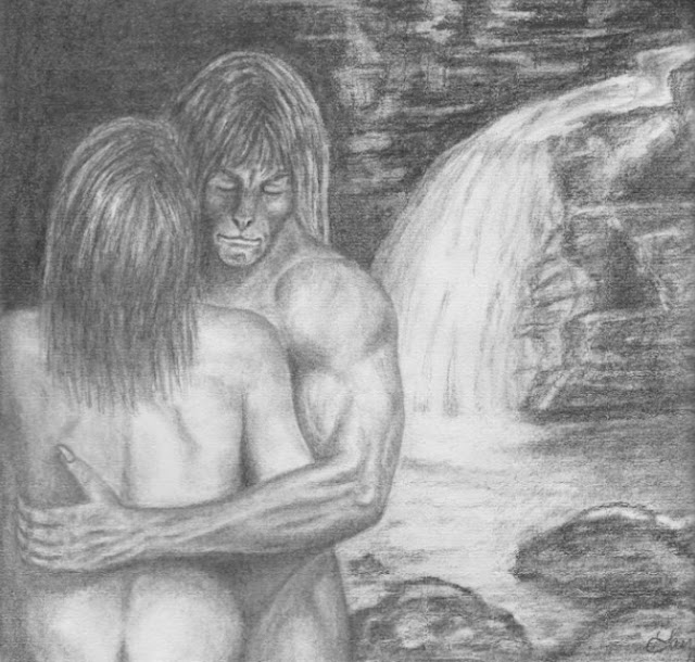 Vincent and Catherine, naked, in front of a waterfall Below, her back toward the viewer with just a hint of the top of her bottom, his well-muscled arm around her back, his eyes closed