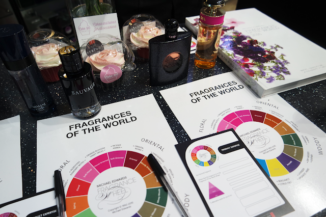 perfumes and fragrance wheels laid out on desk