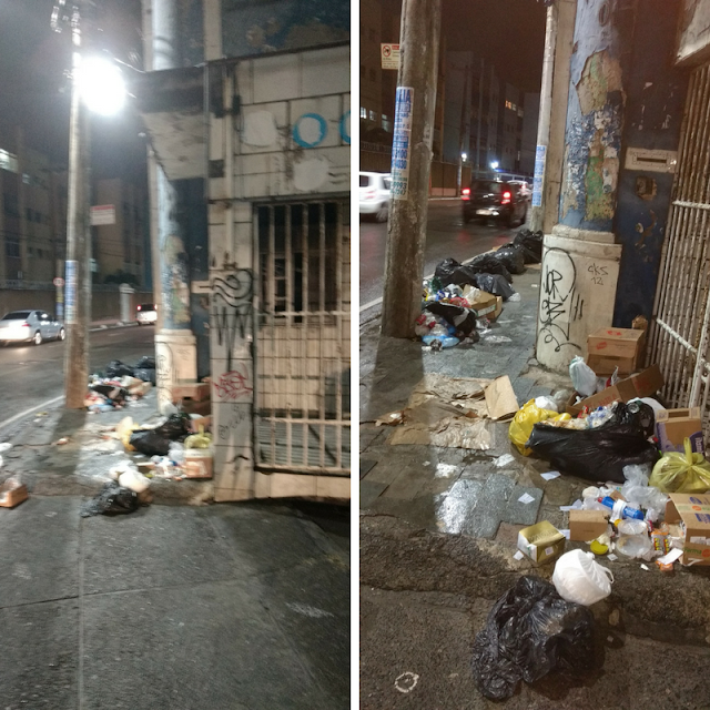 Lixo espalhado na Marquês de Monte Santo