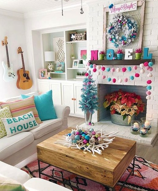 Beachy Bright Blue Pink Christmas Decor Living Room Idea