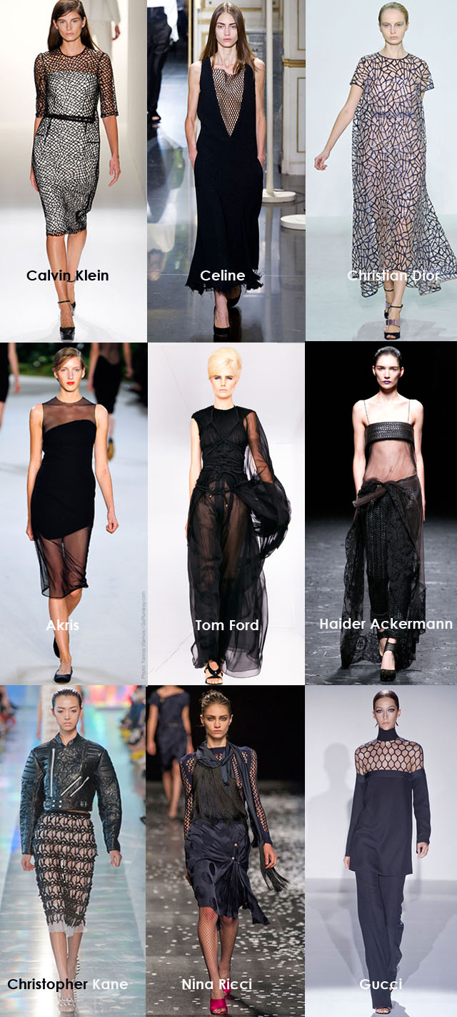 Spring 2013 Fashion Trends, Black Sheers, mesh, lace, cages