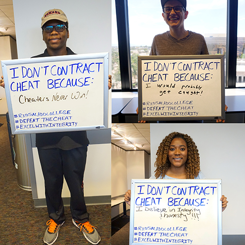 Alt text: collage of three student photos, each student carrying a white board with a statement about why they don't cheat.  Statements: 1. Because Cheaters Never Win! 2. Because I would probably get caught. 3. Because I believe in honesty and integrity