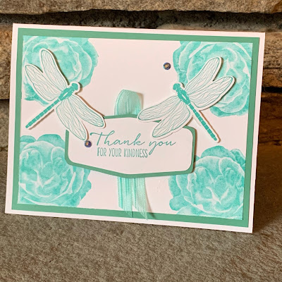 Floral and Dragonflies Thank you card
