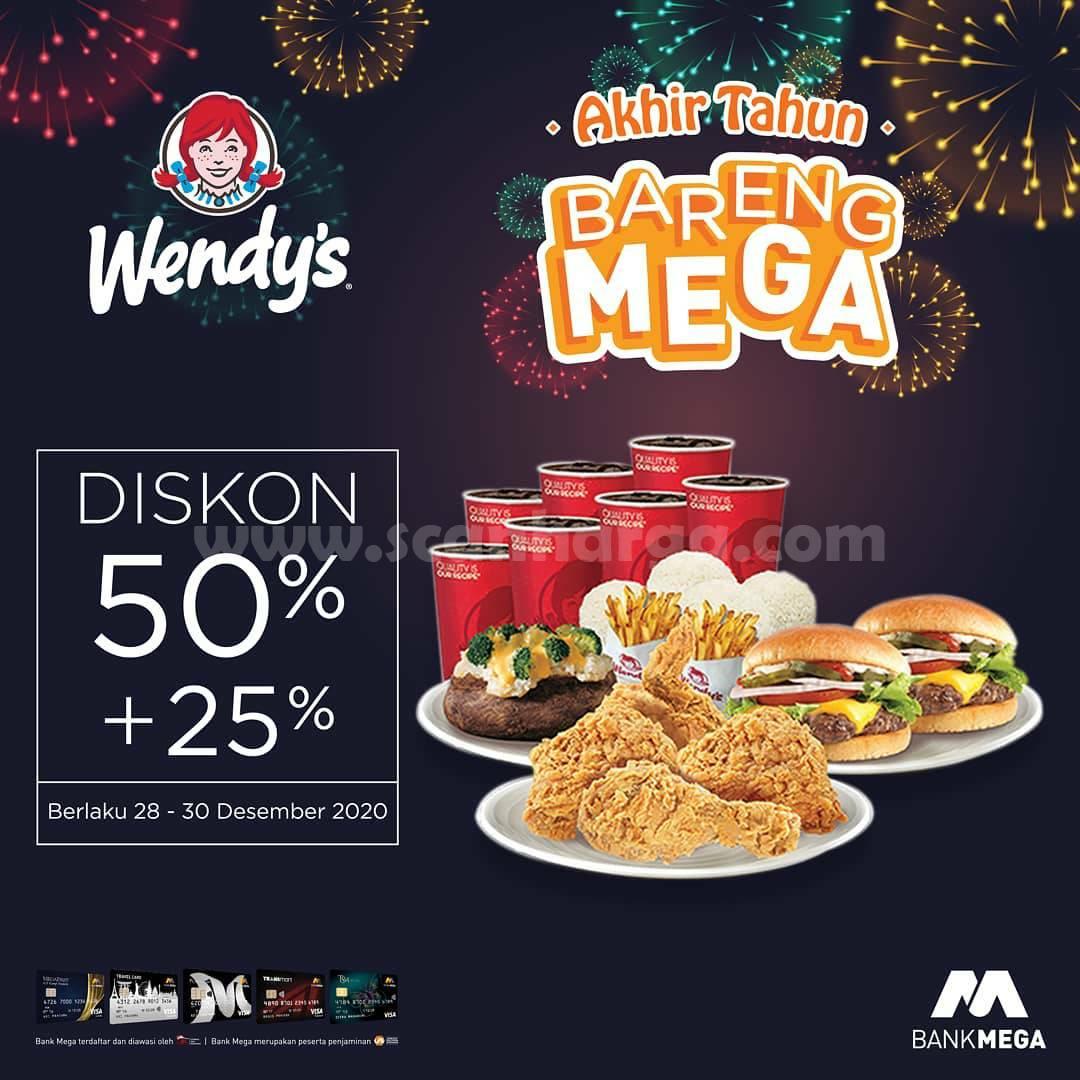 PROMO WENDY'S AKHIR TAHUN BARENG MEGA – Diskon 50% + 25 dengan Kartu Kredit BANK MEGA
