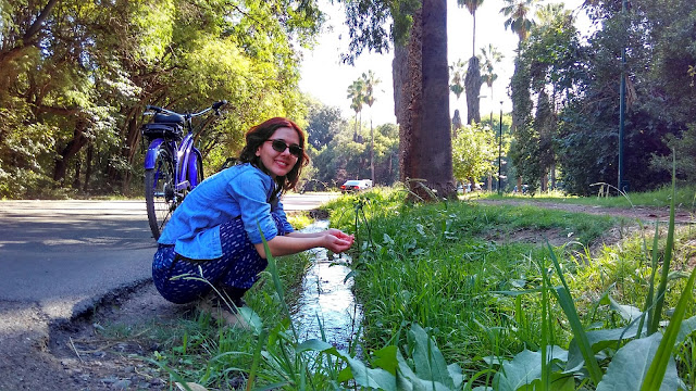 Canal no Parque General San Martín, em Mendoza