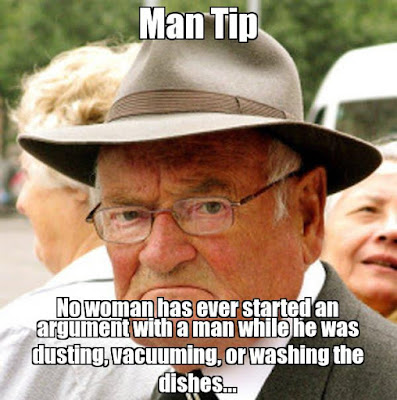 Old men helping with housework