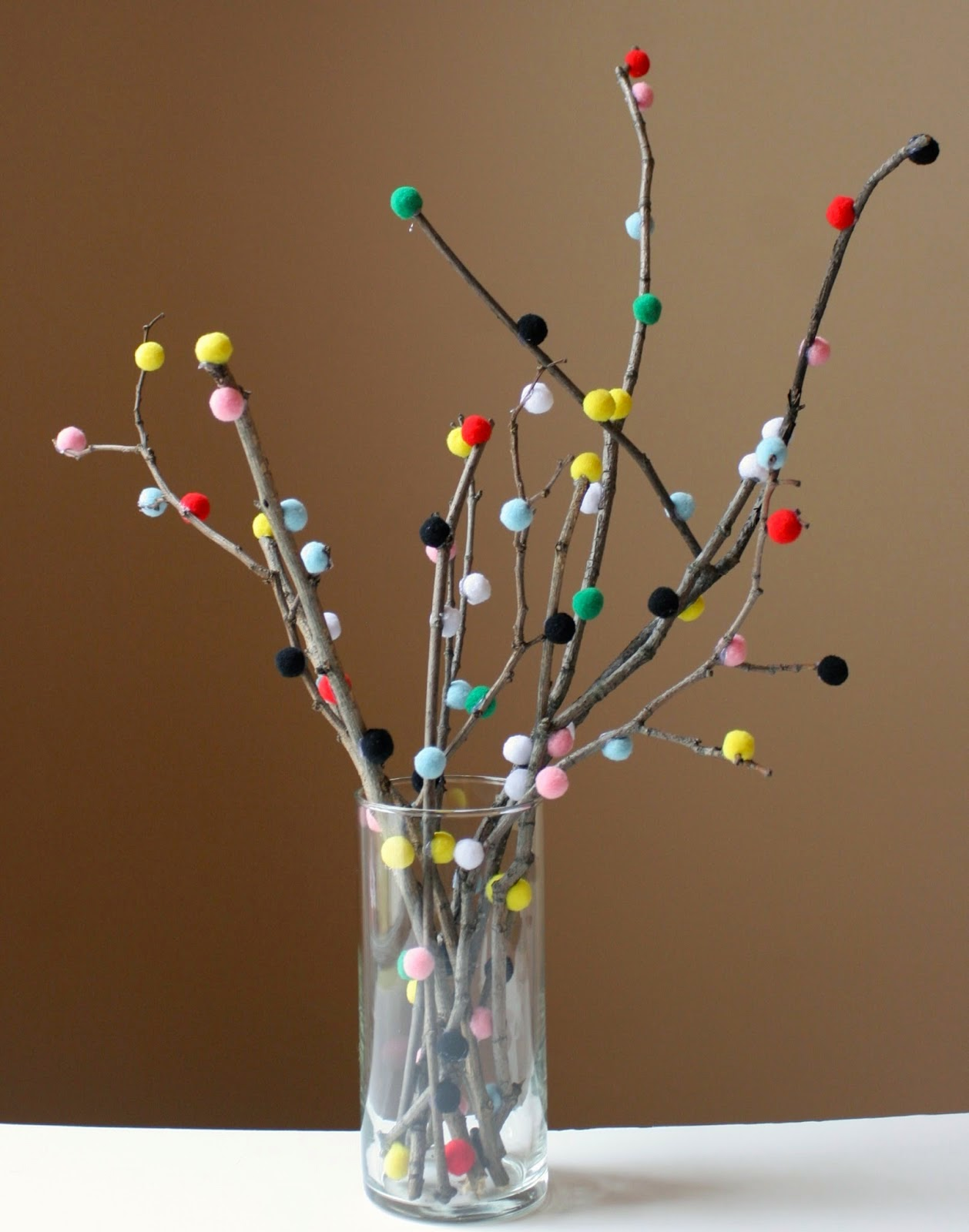 craft pom pom branch centerpiece