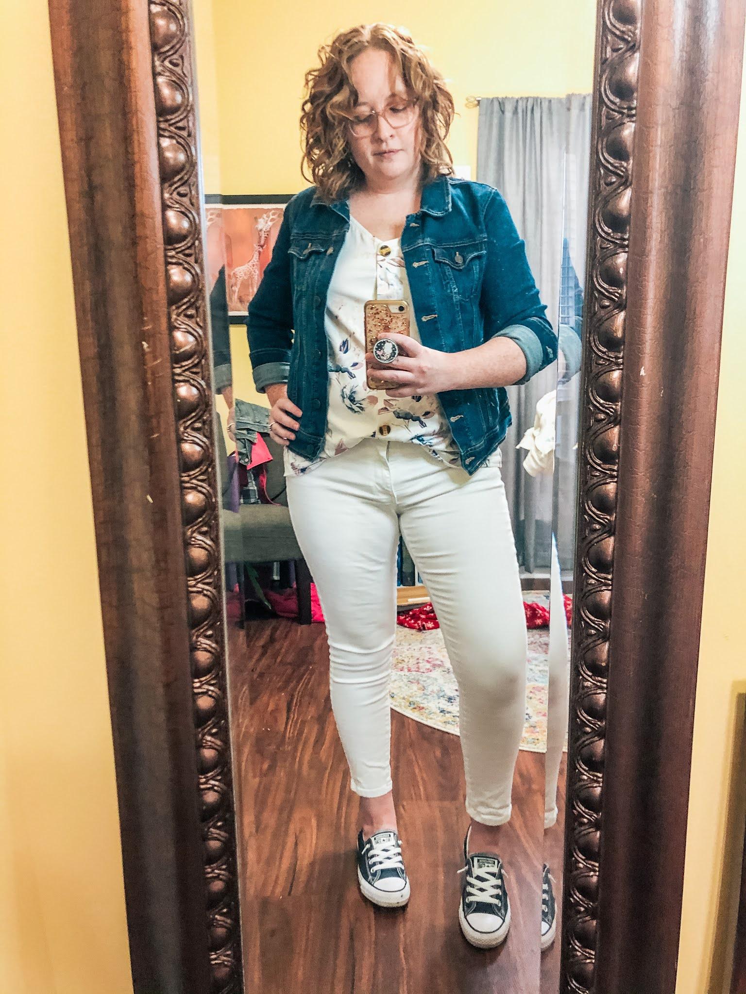 white-jeans-floral-cami-denim-jacket-converse