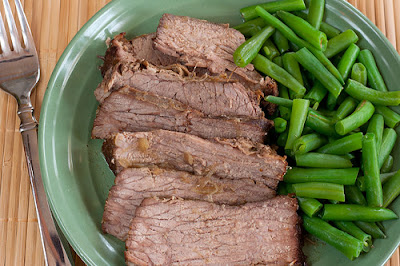 Plate of roast and green beans