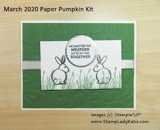 Horizontal reflection card made with the rabbit bunny from the March 2020 Paper Pumpkin Kit: No Matter the Weather