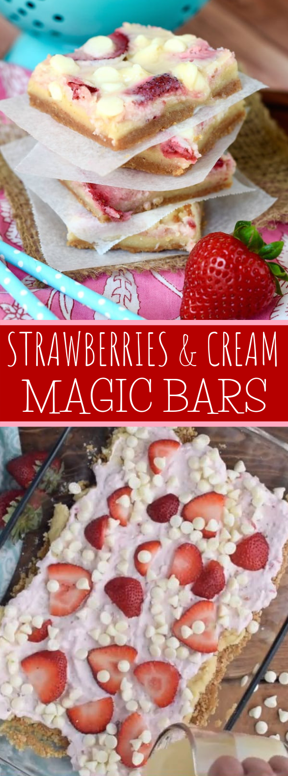 STRAWBERRIES AND CREAM MAGIC BARS #desserts #sugarcookie