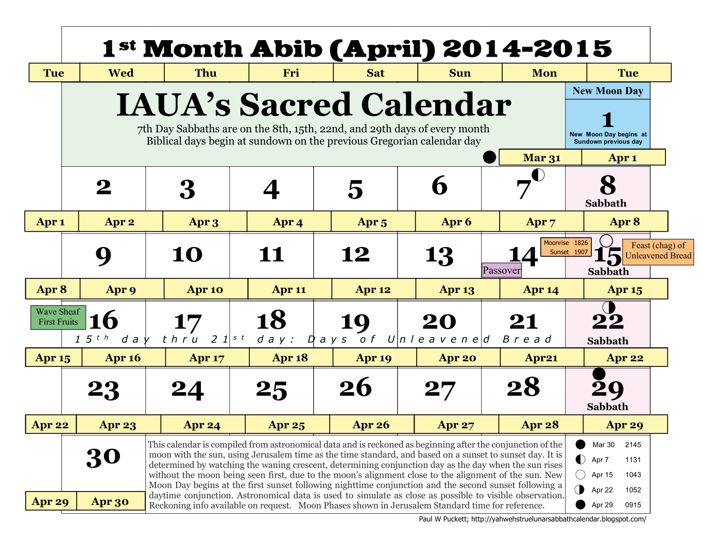 Solar Year Calendar : Iaua s true lunar solar sabbath calendar