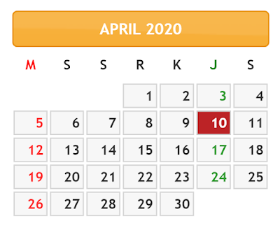 KALENDER BULAN APRIL TAHUN 2020