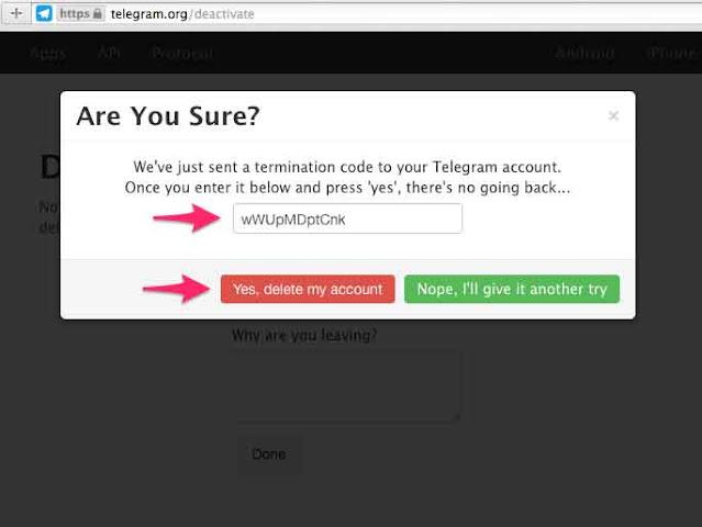 تأكيد حذف حساب التليجرام من خلال متصفح الإنترنت