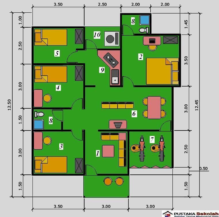 gambar denah rumah 4 kamar tidur 1 lantai 1