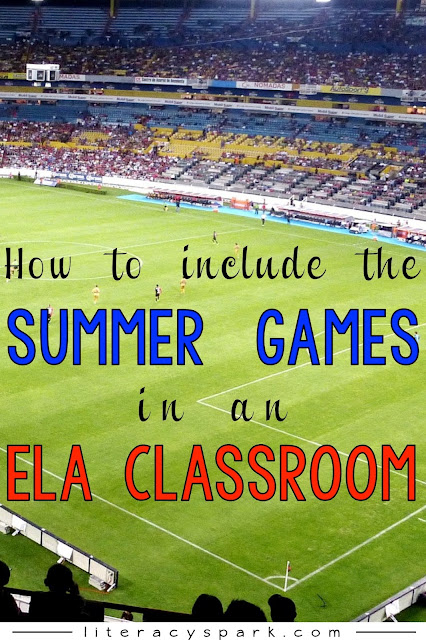 Tons of ideas and freebies for including summer sports in your reading/ELA classroom right now in preparation for the games this summer!  Making inferences, informational texts, parts of speech, graphic organizers, idioms, and more!