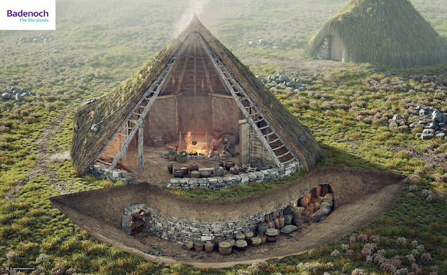 Digital reconstruction of Raitts Cave or Souterrain and late Iron Age roundhouse by Bob Marshall