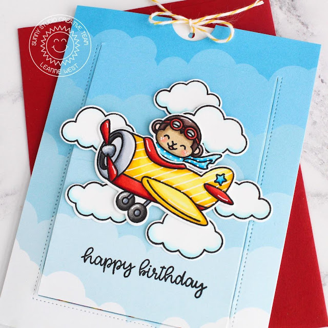 Sunny Studio Stamps: Plane Awesome Sliding Window Dies Birthday Card by Leanne West