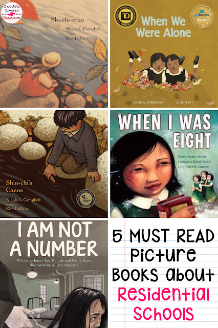 This blog post is about 5 must read picture books to learn more about Canada 's History. Indian Residential Schools picture books, perfect for orange shirt day. Students need to learn about Canadian Residential Schools and these picture books are an easy way to make that happen.