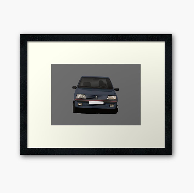 Cornerign Peugeot 205 GTi illustration prints
